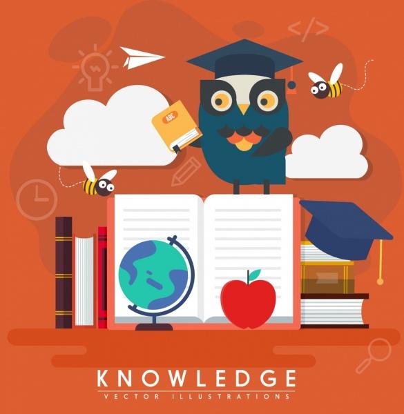 education background stylized owl books bees icons decor