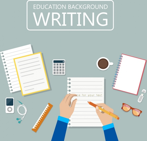 education background writing hands note paper icons