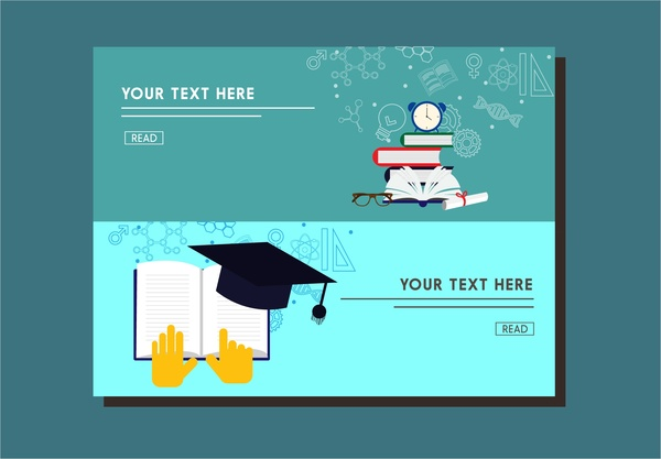 education banner webpage style design with emblems free vector in