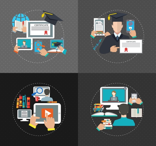 education concepts isolated with round design and symbols