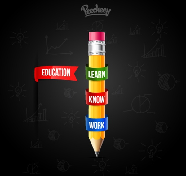education poster with a pencil free vector in adobe illustrator ai
