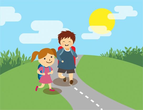 education theme joyful kids on road design