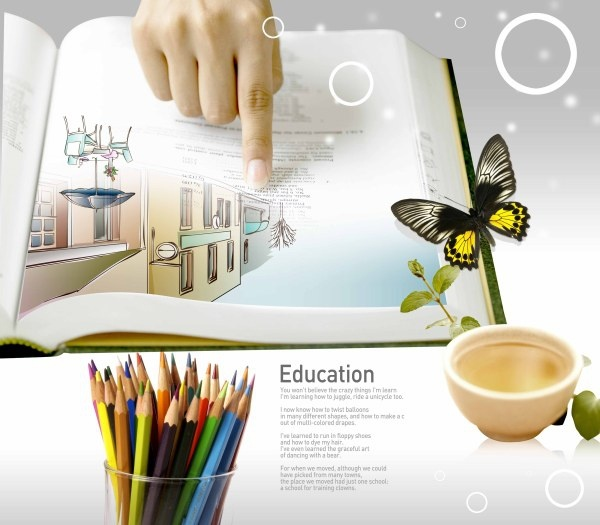 education theme still life psd layered 3