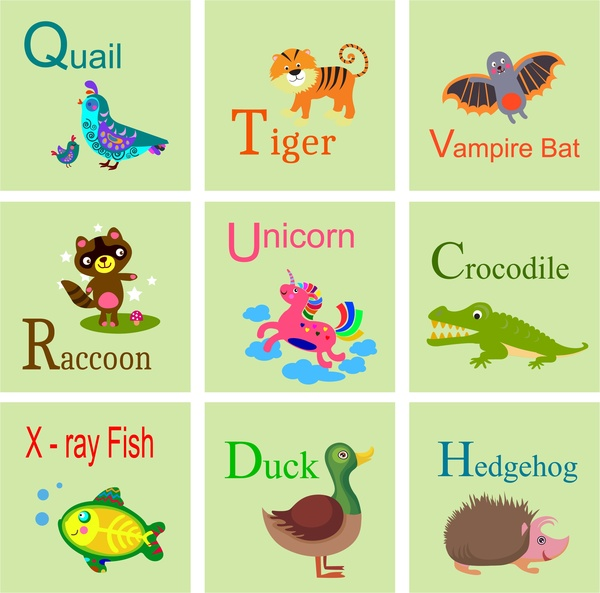 educational alphabets isolated with various cute animals