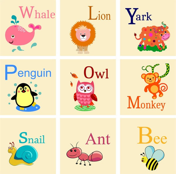 educational alphabets sets with cute animals illustration