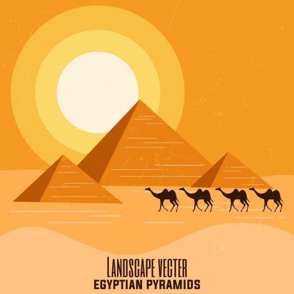 egypt advertising banner pyramid camel sun desert icons