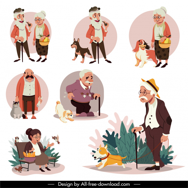 elderly icons colored cartoon characters sketch