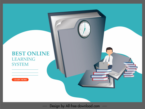 Elearning Banner Huge 3d Book Student Sketch Free Vector In Adobe Illustrator Ai Ai Format Encapsulated Postscript Eps Eps Format Format For Free Download 2 48mb