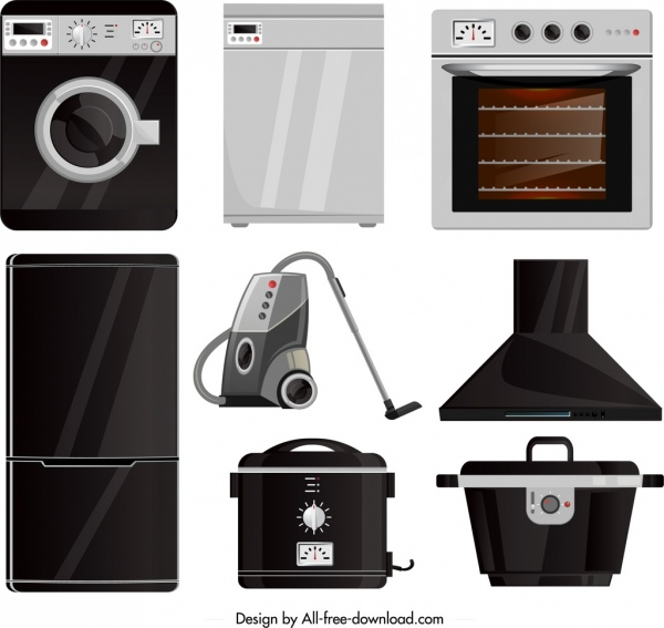 electronic devices icons modern household equipment sketch