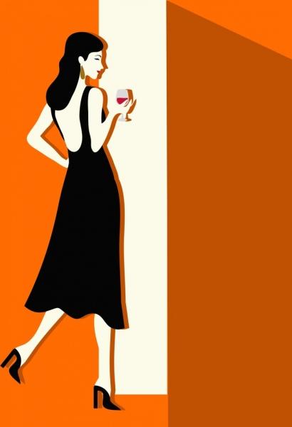 elegant black dress design colored cartoon style