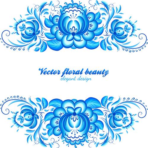 elegant blue floral pattern background vector