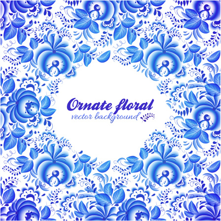 Elegant Blue Floral Pattern Background Vector Free Vector In