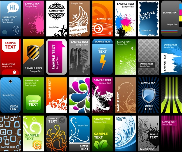 cards templates collection colorful modern classical themes