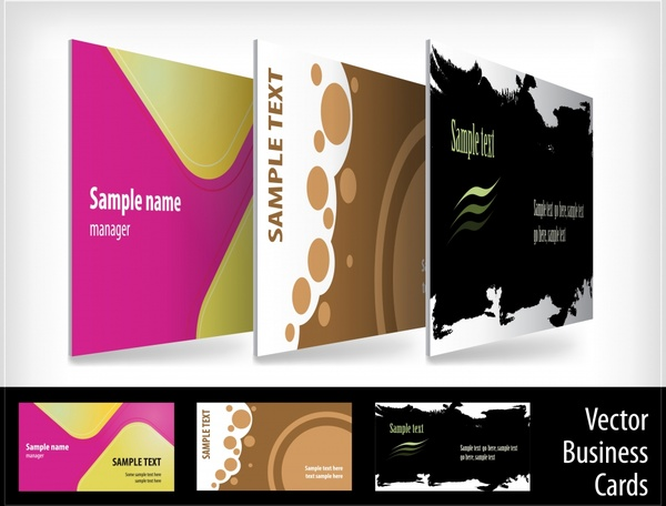 name card templates colored abstract dark bright design