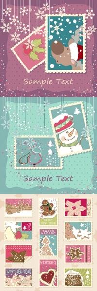 elegant christmas stamp vector