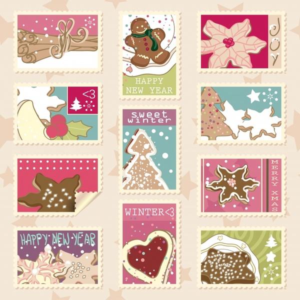 xmas stamps templates colorful retro design
