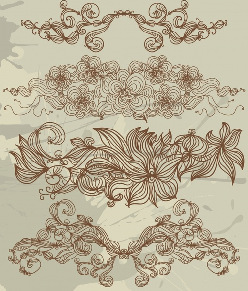 flowers pattern design elements classical handdrawn sketch
