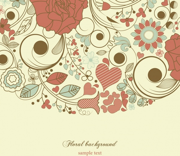 floral background template elegant flat handdrawn classic design