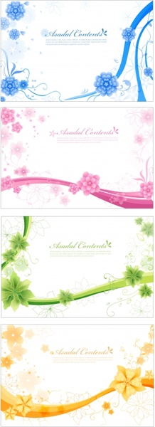 floral background templates bright colored modern design