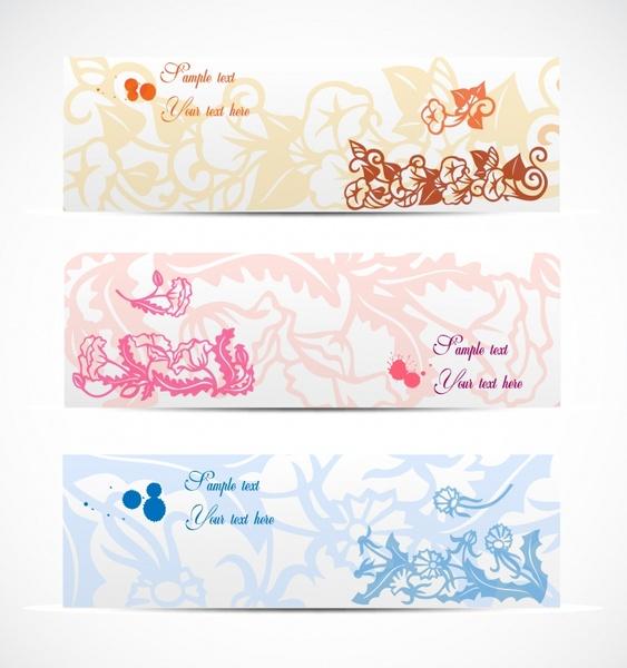 decorative floral background templates classical elegant flat design