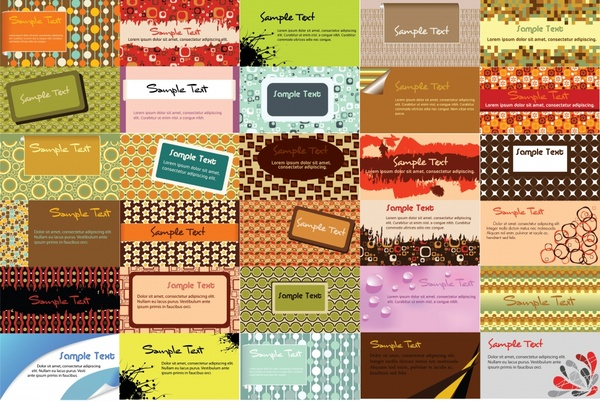 business card background templates collection colorful classic themes