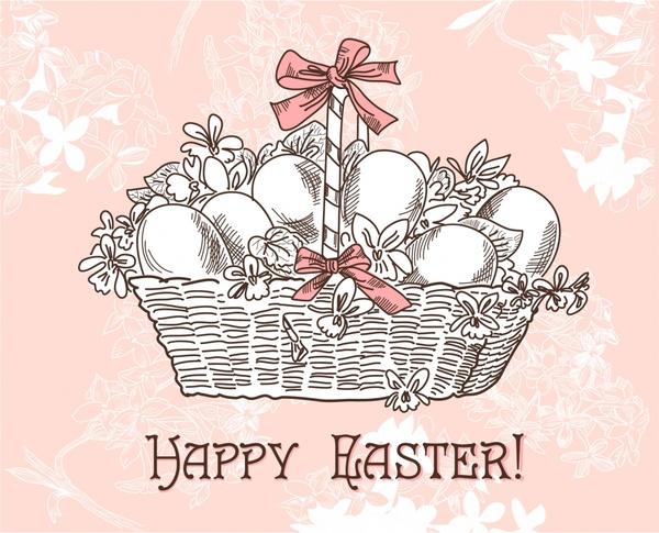 easter banner eggs basket sketch classic handdrawn design