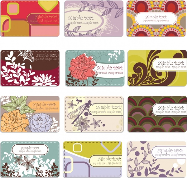 business card cover templates flat colorful classical decor