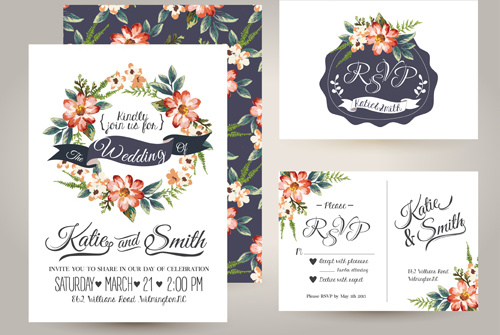 Elegant Flower Wedding Invitation Card Kit Vector Free Vector 5.39MB