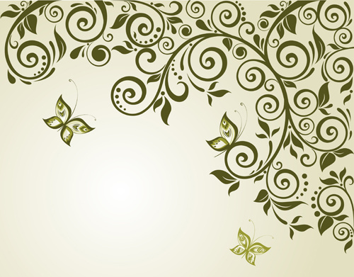 elegant green floral vector background