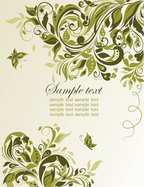 elegant green floral vector background