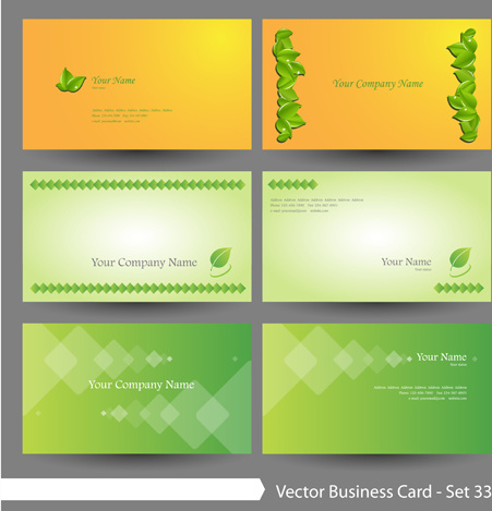 elegant green natural business cards vector free vector in adobe