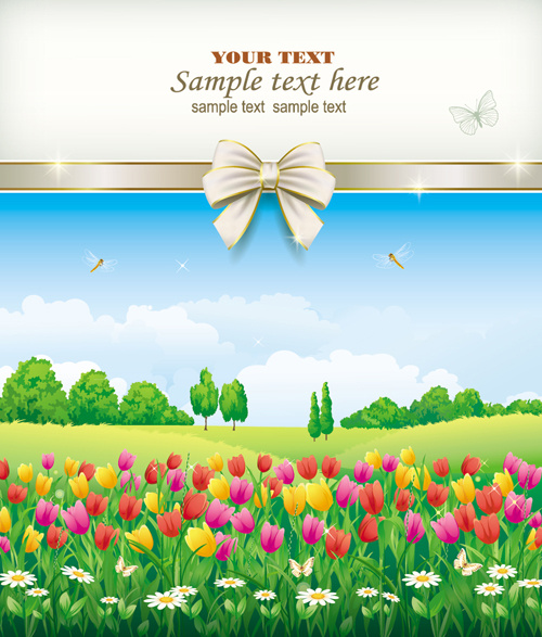 elegant meadow with flowers art background vector