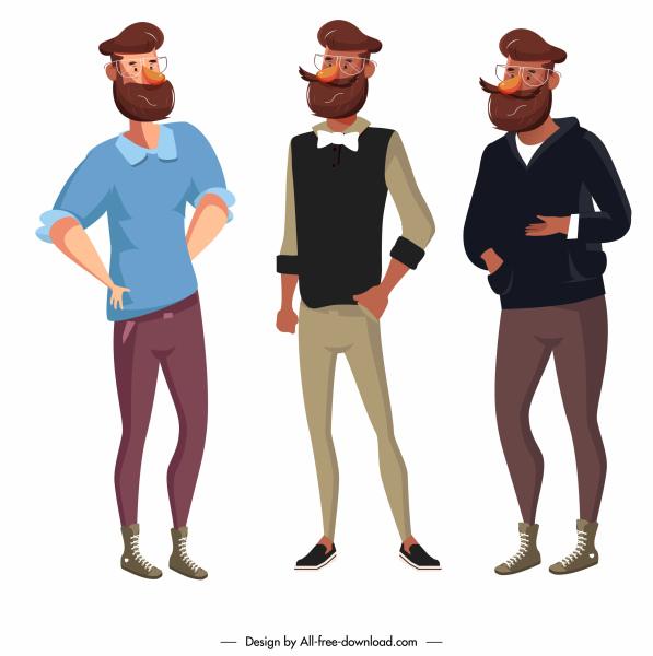 elegant men icons colored cartoon character sketch