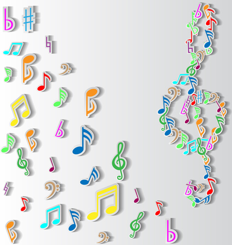 Elegant Music Note Background Vector Set Free Vector In Encapsulated