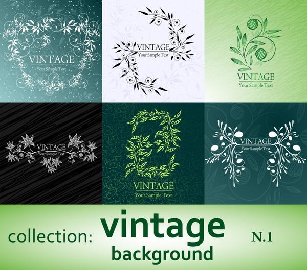 decorative background templates vintage flowers decor