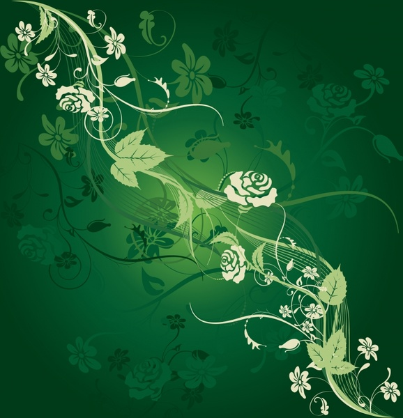 flowers background dark green sketch