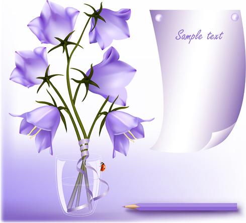Elegant Purple Flower Background Art Vector Free Vector In