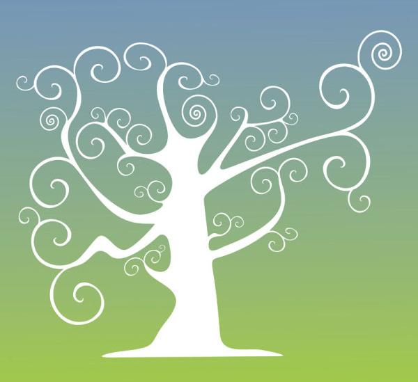 elegant tree branch silhouette vector