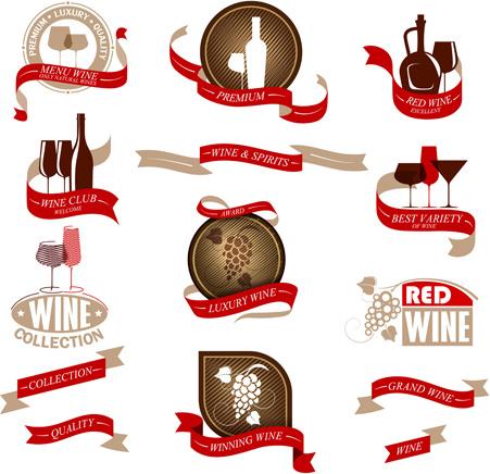 elegant wine labels vector
