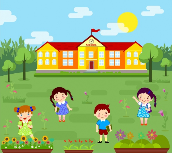 Elementary School Background Colorful Cartoon Design