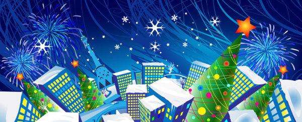 elements of cartoon christmas vector banner design