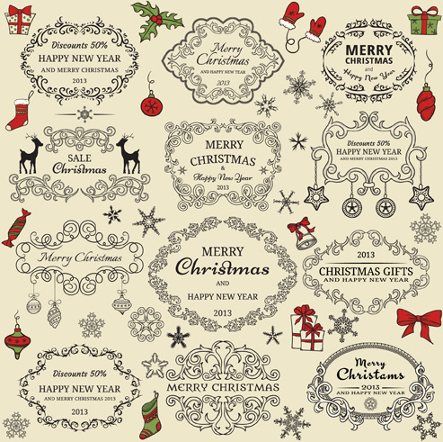 elements of christmas vintage frames and ornaments vector free