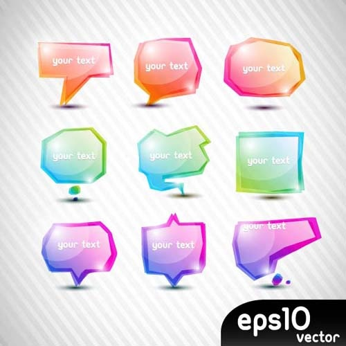 elements of colorful speech bubbles vector