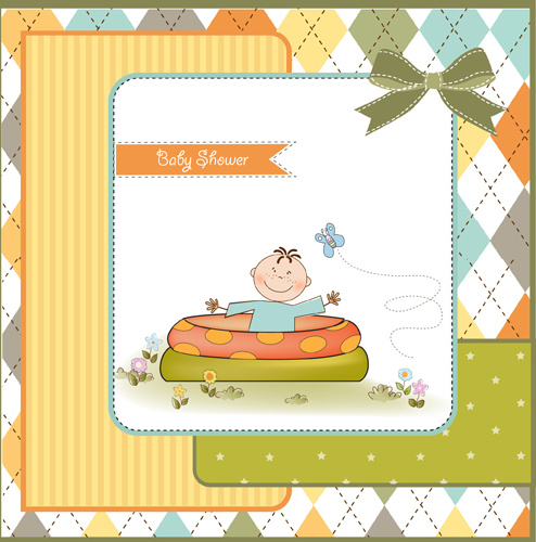 elements of cute baby cards background vector