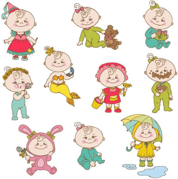 elements of cute cartoon baby vector set