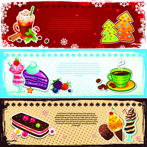 elements of cute christmas banners design vector