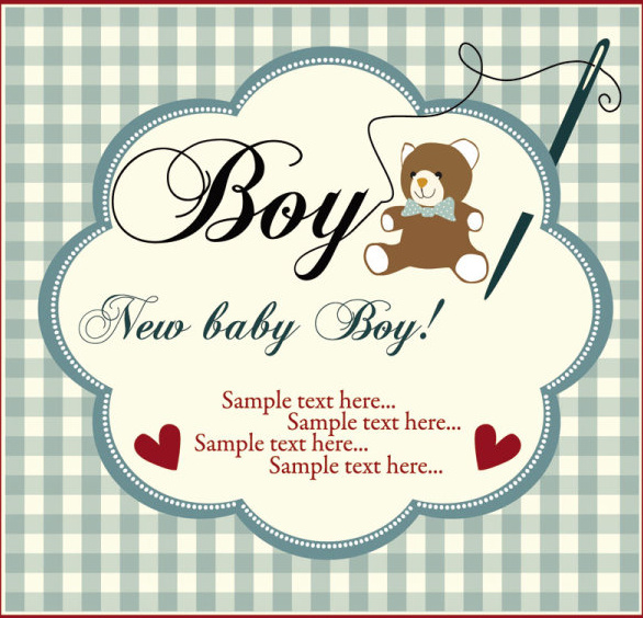 elements of cute new baby cards design vector free vector in