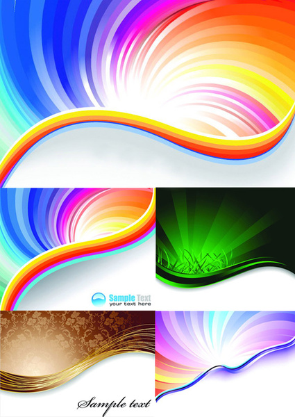 elements of gorgeous rainbow background design vector