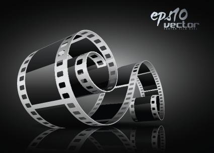elements of realistic 3d film reel design vector set
