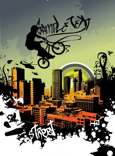 bicycling performance banner modern city sketch grunge silhouette decor